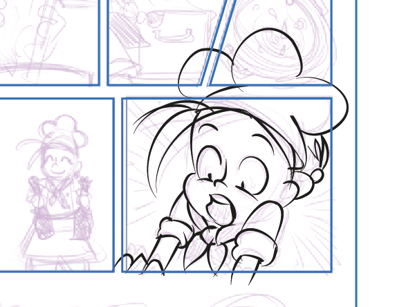 Inking a panel ignoring frame borders