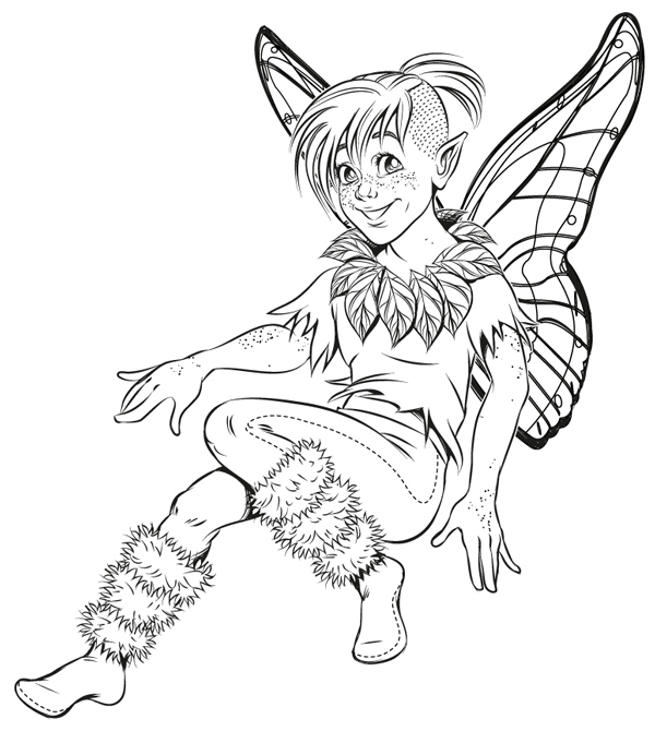 Final artwork a fairy character inked in Adobe Illustrator