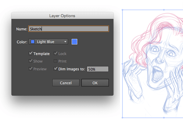 Template layer for sketch