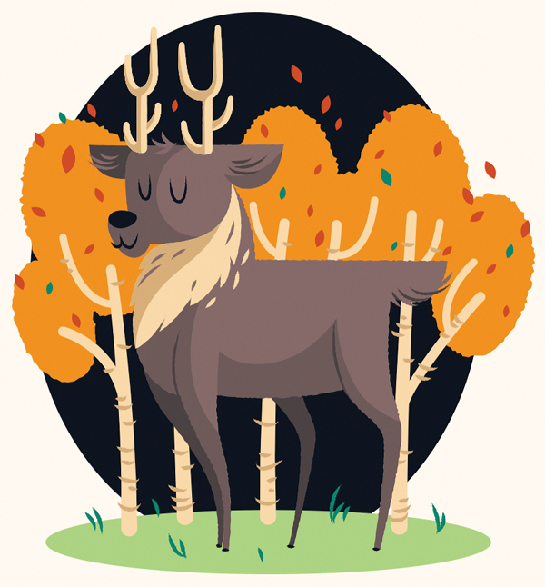 Illustrator Character Design Freelance : Create a cute deer illustration in adobe illustrator