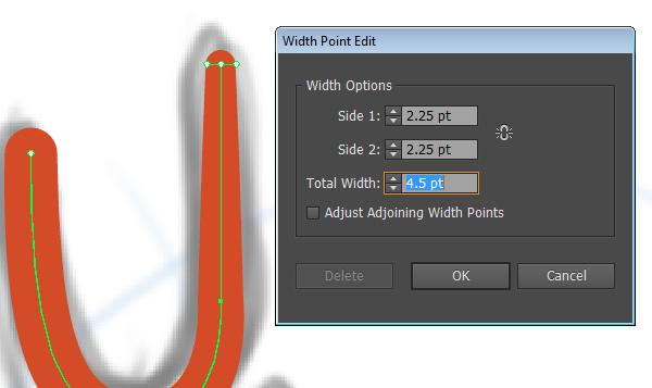 Width tool settings