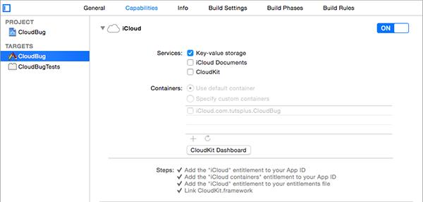 Enabling iCloud for the CloudBug Target