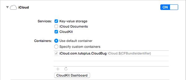 Enabling CloudKit for the CloudBug Target