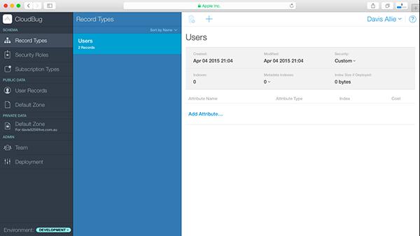 Opening the CloudKit Dashboard