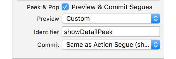 Peek and Pop options