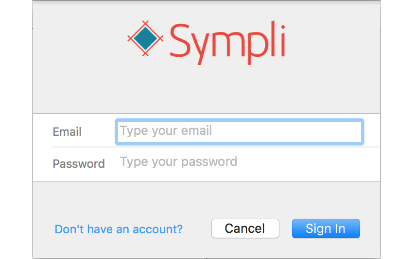 Sympli Login Prompt
