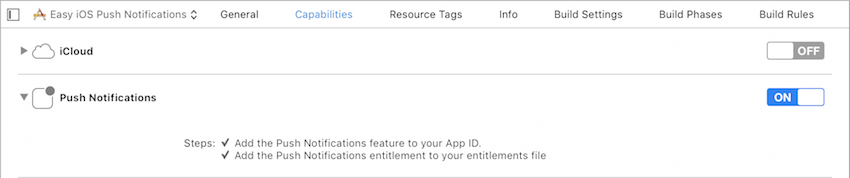 Push Notifications Entitlements