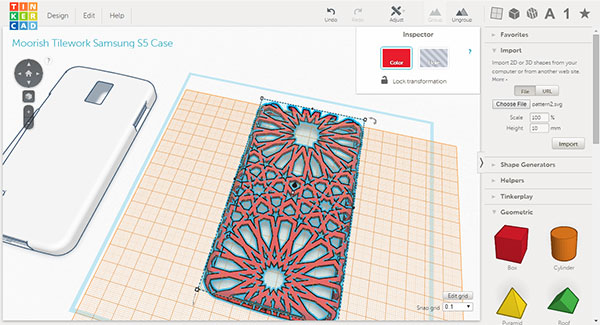 Tinkercad Moorish tile altered pattern phone case