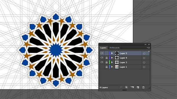 Moorish tile work vector central pattern