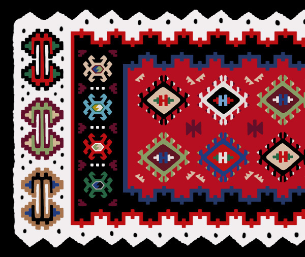 A possible final kilim design based on a traditional kilim - detail closeup
