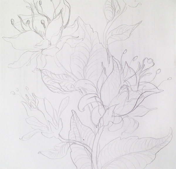 Seamless Fantasy Floral in PS - Initial Sketch
