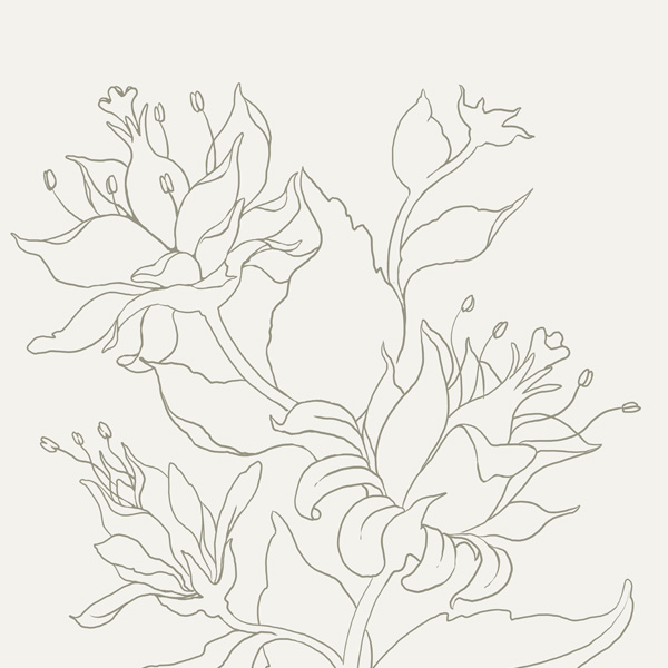 Seamless Fantasy Floral in PS - Finished Line-Work
