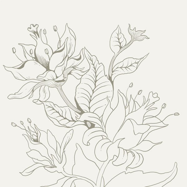Seamless Fantasy Floral in PS - Line-Work Details