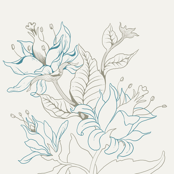 Seamless Fantasy Floral in PS - Line Colors