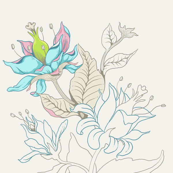Seamless Fantasy Floral in PS - Pistil and Leaf Colors