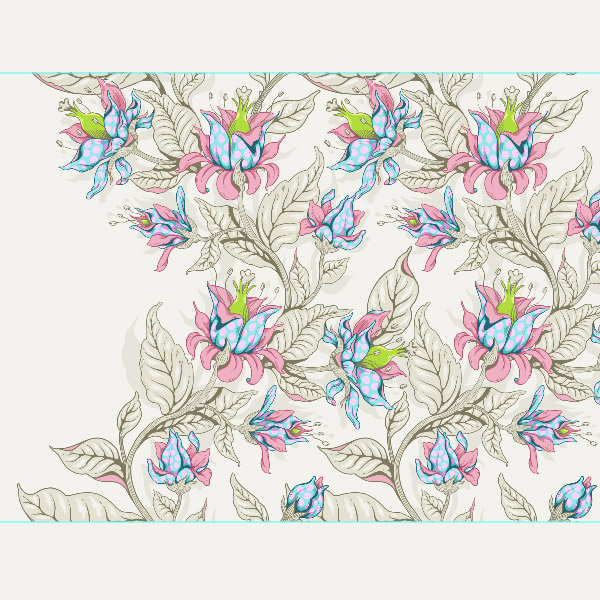 Seamless Fantasy Floral in PS - Horizontal Repeat Test