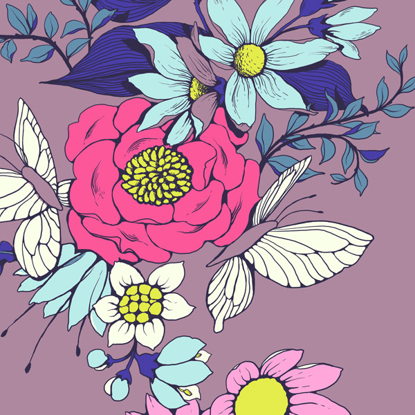 Make a floral pattern for fabric in PS - base colors