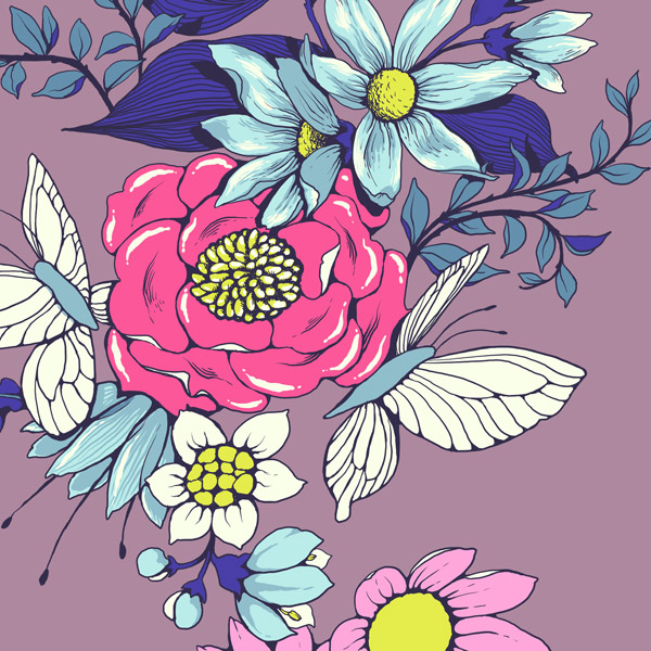 Make a floral pattern for fabric in PS - shadows