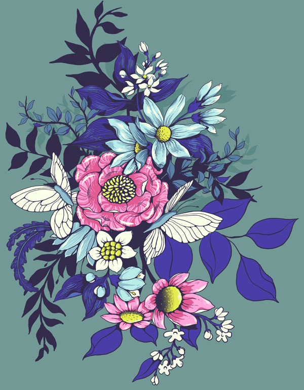 Make a floral pattern for fabric in PS - finished motif