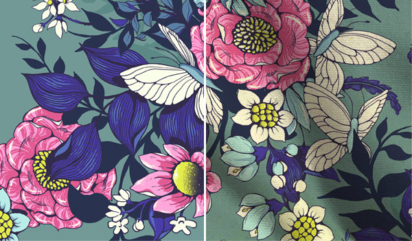 Make a floral pattern for fabric in PS - color change on fabric