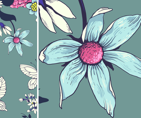 Make a floral pattern for fabric in PS - consider line weight