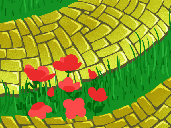 Brick Road and Poppy Field pattern - inner poppy petals