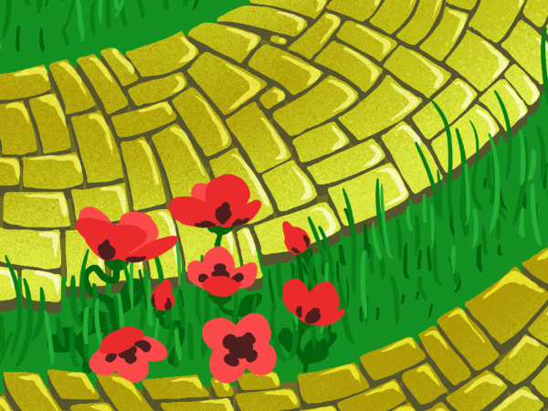 Brick Road and Poppy Field pattern - dark petal spots