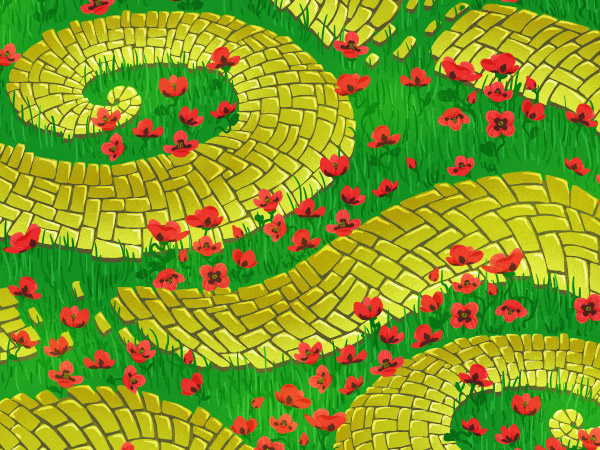 Brick Road and Poppy Field pattern - adding subtle sunshine