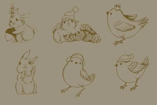 Winter Animals Pattern - animal sketches