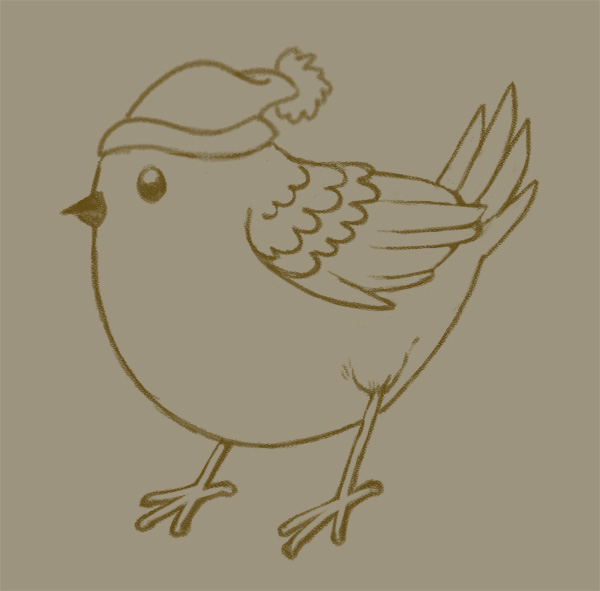 Winter Animals Pattern - Birdie lines