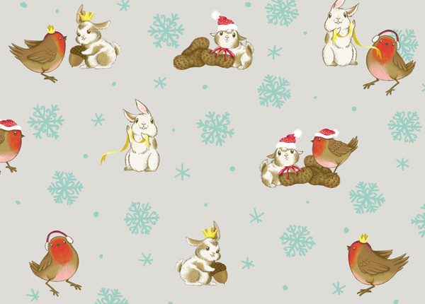 Winter Animals Pattern - Scattering the snow