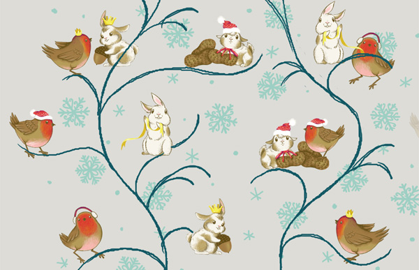 Winter Animals Pattern - Roughing in a vine