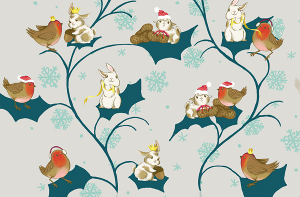 Winter Animals Pattern - Adding holly leaves