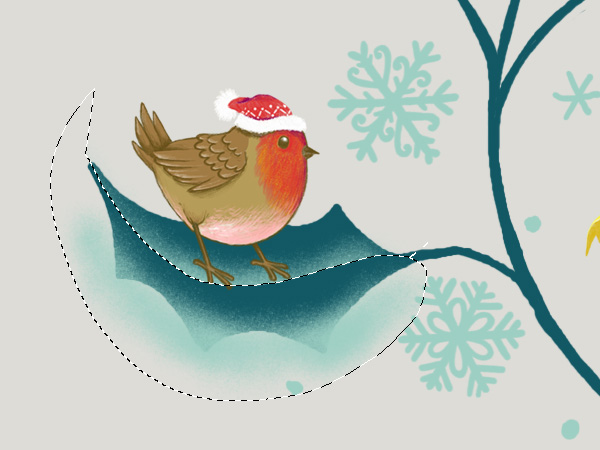 Winter Animals Pattern - Shading the leaf pt 2