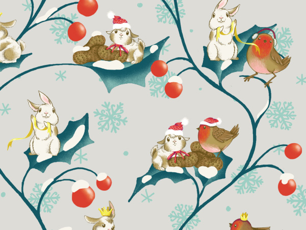 Winter Animals Pattern - The final repeat