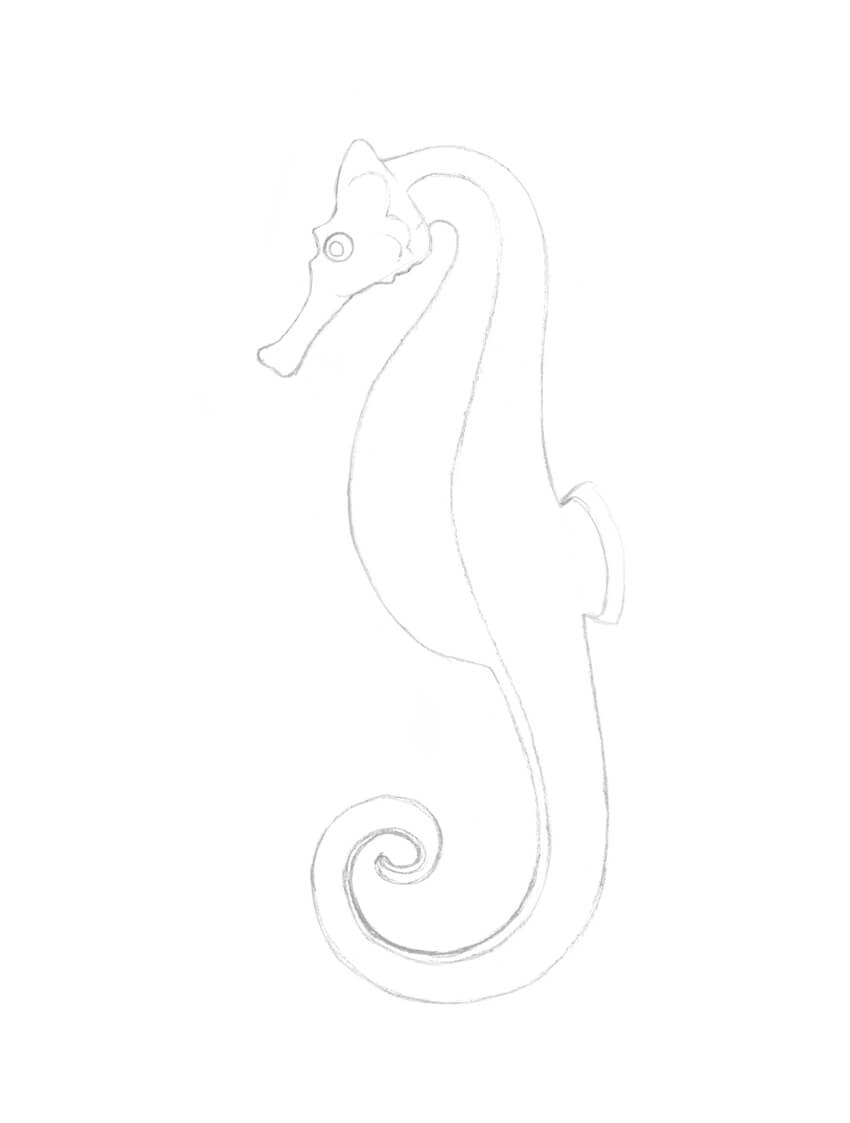 Seahorse Pencil Drawing