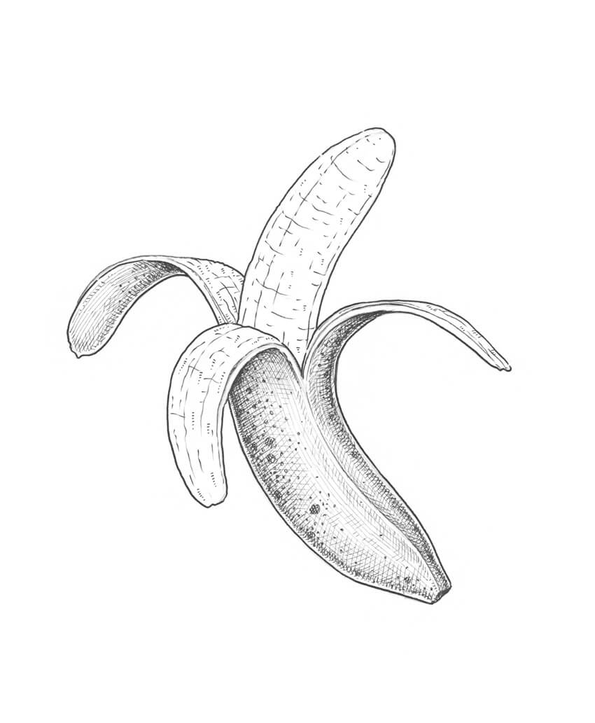 Simple Cross Line Art : How to draw a banana