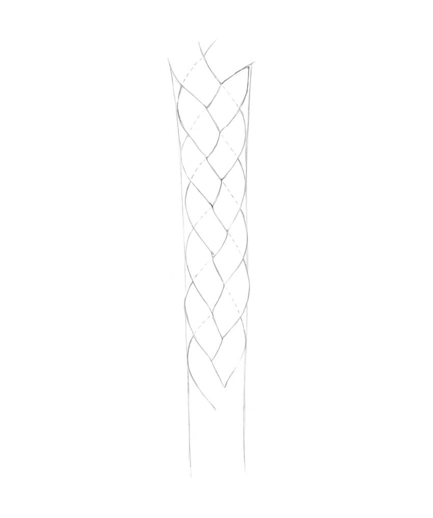 Filling the shape of the braid with the pattern