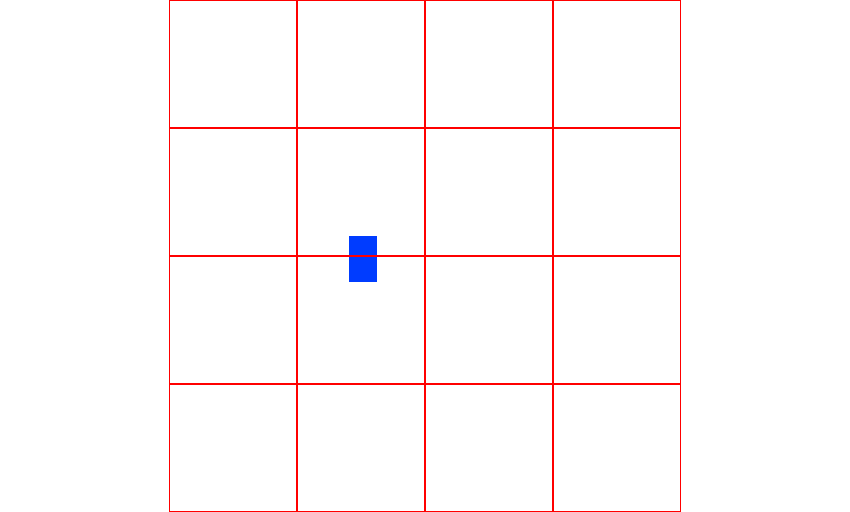An object occupying two of the same partitions along the x-axis