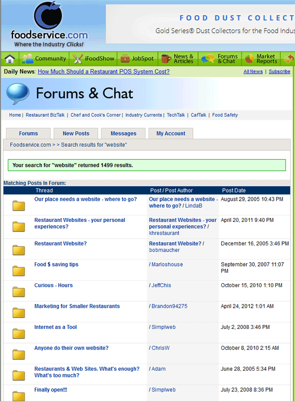 FoodService Forums threads