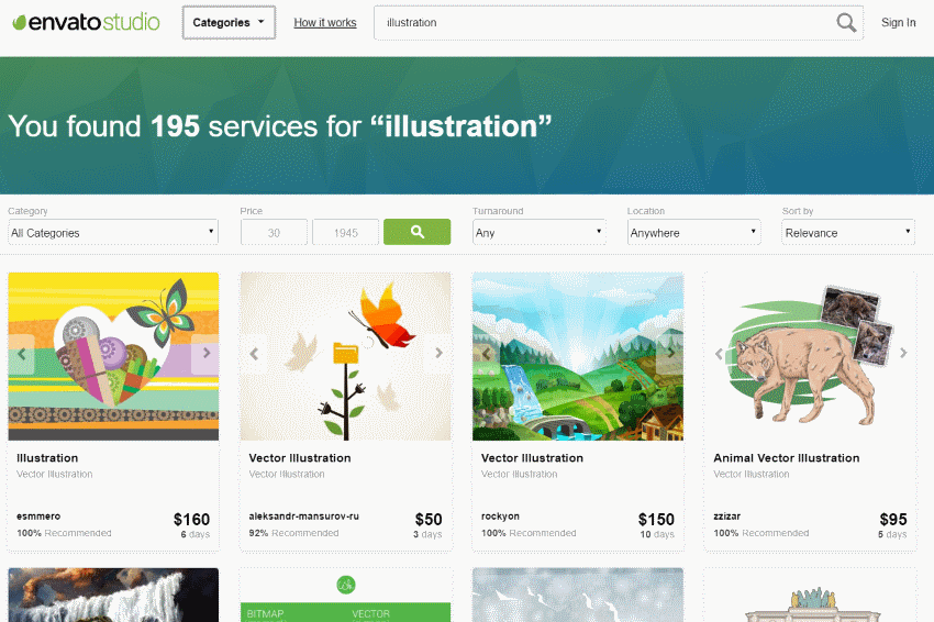 Illustration services on Envato Studio