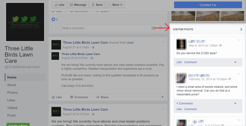 Facebook Visitor Posts Example