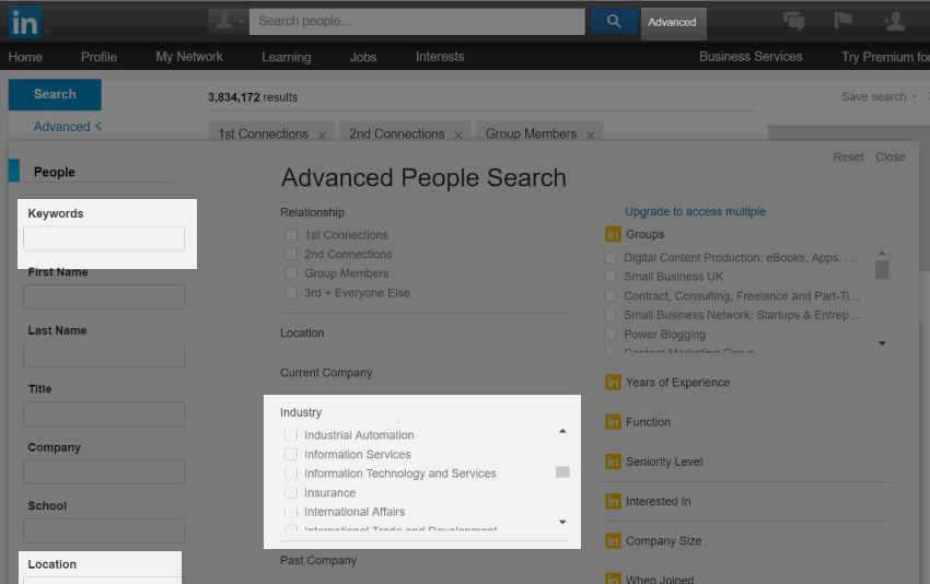 Advanced search on LinkedIn