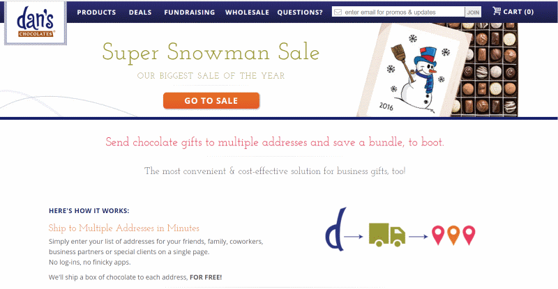 Dans Chocolates winer season sale