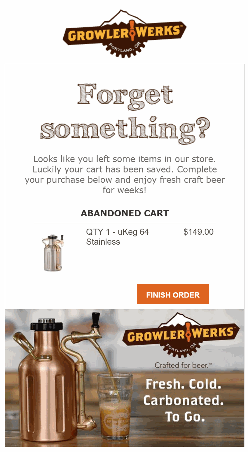 Cart abandonment email example