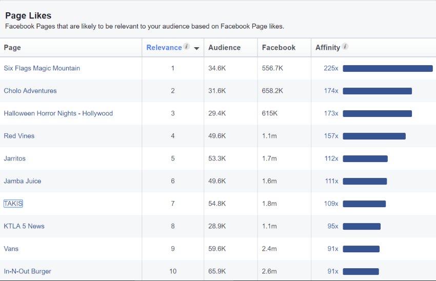 Facebook Audience Insights Page Likes