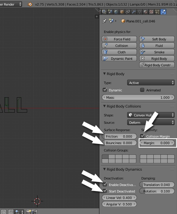 Change rigid body settings