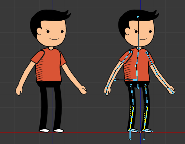 how to rig a 2d character in blender for cut-out animation or