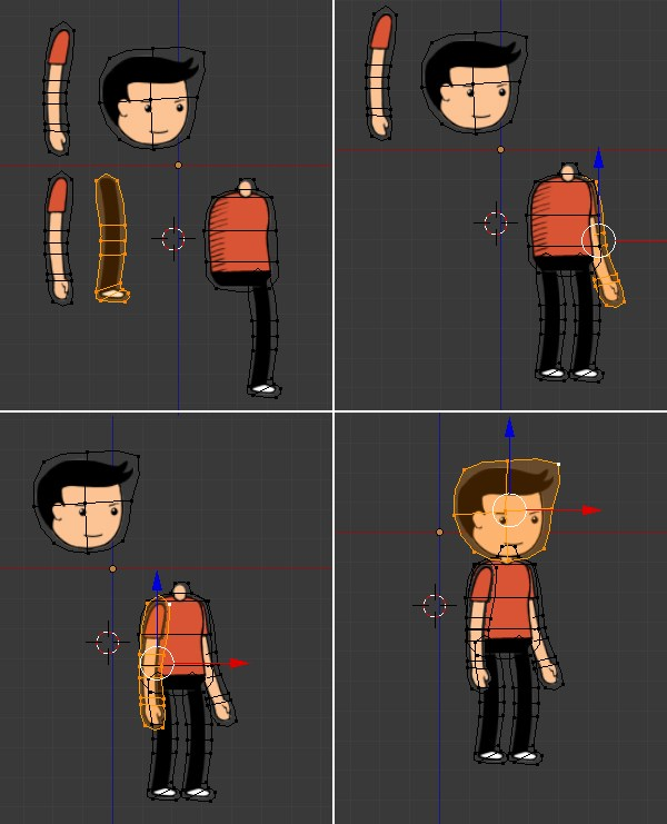Rearranging the mesh to form the character