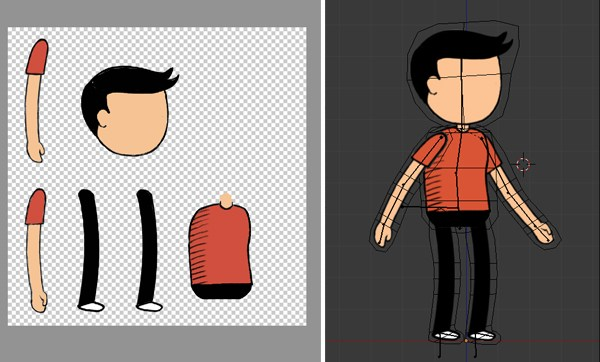 how to rig a 2d character in blender for cutout animation or